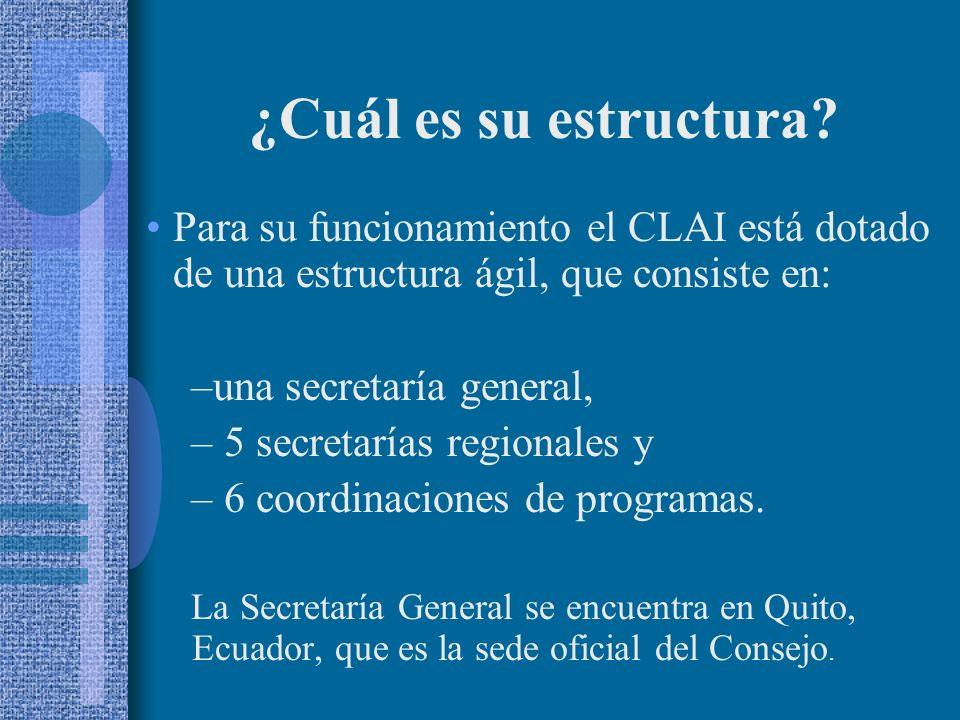 Para su funcionamiento el CLAI está dotado de una estructura ágil, que consiste en: –una secretaría general, – 5 secretarías regionales y – 6 coordinaciones de programas.