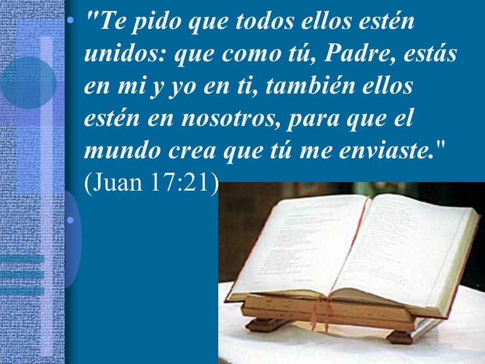 Te pido que todos ellos estén unidos: que como tú, Padre, estás en mi y yo en ti, también ellos estén en nosotros, para que el mundo crea que tú me enviaste. (Juan 17:21)