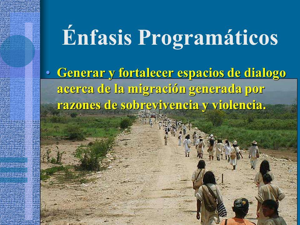 Generar y fortalecer espacios de dialogo acerca de la migración generada por razones de sobrevivencia y violencia.Generar y fortalecer espacios de dialogo acerca de la migración generada por razones de sobrevivencia y violencia.