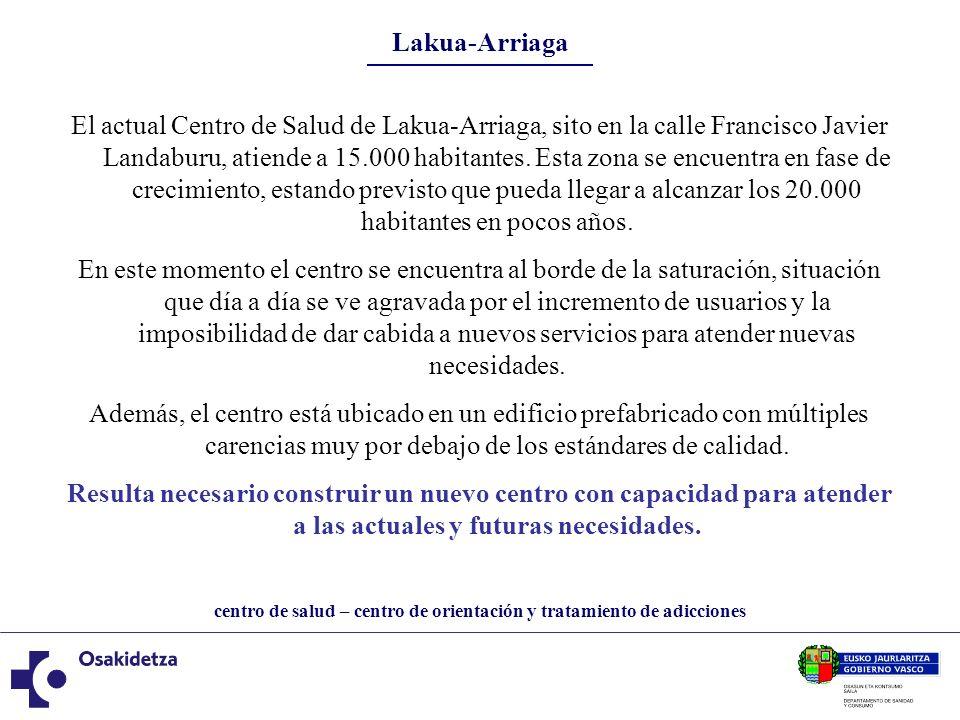 centro de salud – centro de orientación y tratamiento de adicciones Lakua-Arriaga El Ayuntamiento de Vitoria-Gasteiz cede a Osakidetza una parcela de 4.500 m2, sita en la confluencia de las calles Luis Olariaga y Portal de Foronda.