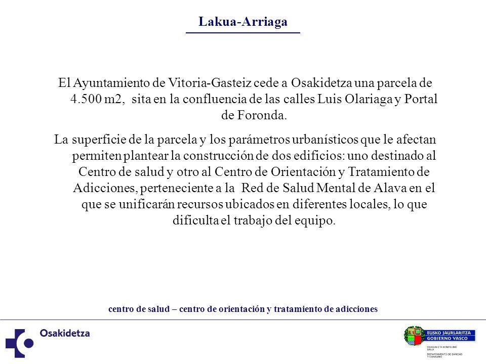 centro de salud – centro de orientación y tratamiento de adicciones Lakua-Arriaga El Ayuntamiento de Vitoria-Gasteiz cede a Osakidetza una parcela de