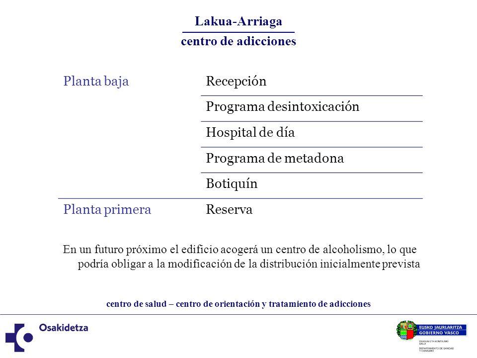 centro de salud – centro de orientación y tratamiento de adicciones Lakua-Arriaga Centro de salud:3.444 m2 Centro de tratamiento:3.283 m2 (1.300 m2 reserva) Parking:1.340 m2 Total construido:8.067 m2 Importe de licitación:5,4 millones de euros Importe de adjudicación: 3,7 millones de euros Empresa adjudicataria: Construcciones Amenábar Inicio de las obras: 10 de enero de 2011 Plazo de ejecución:19 meses El centro de salud Lakkua-Arriaga abrirá sus puertas en el tercer trimestre de 2012