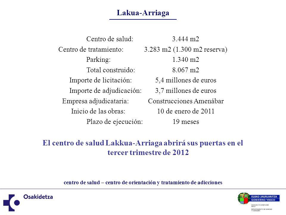 centro de salud – centro de orientación y tratamiento de adicciones Lakua-Arriaga Centro de salud:3.444 m2 Centro de tratamiento:3.283 m2 (1.300 m2 re