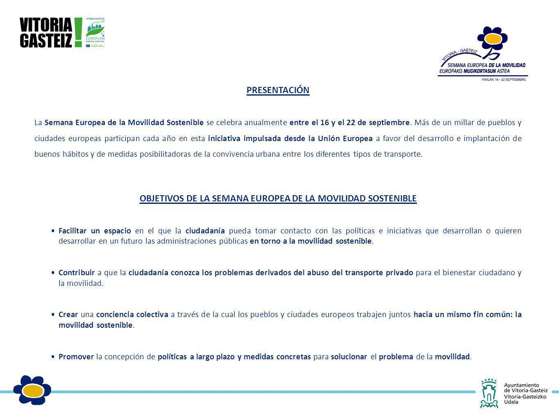PRESENTACIÓN La Semana Europea de la Movilidad Sostenible se celebra anualmente entre el 16 y el 22 de septiembre. Más de un millar de pueblos y ciuda