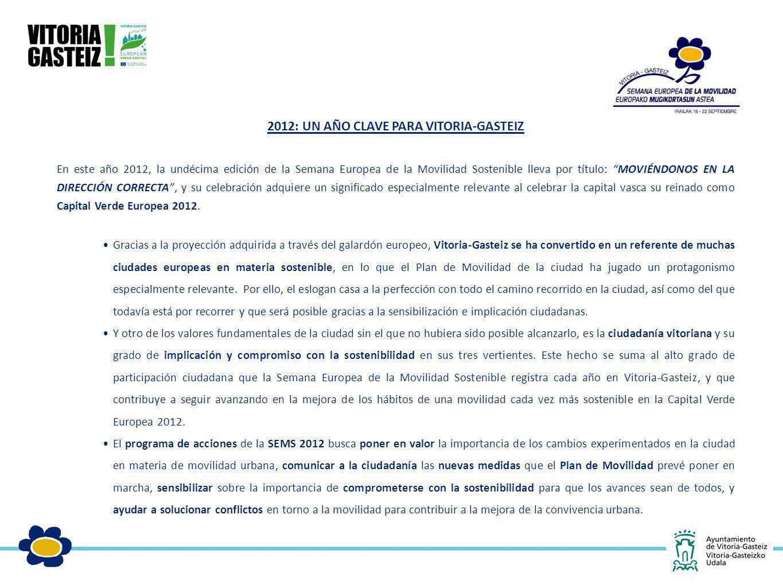 2012: UN AÑO CLAVE PARA VITORIA-GASTEIZ En este año 2012, la undécima edición de la Semana Europea de la Movilidad Sostenible lleva por título: MOVIÉN
