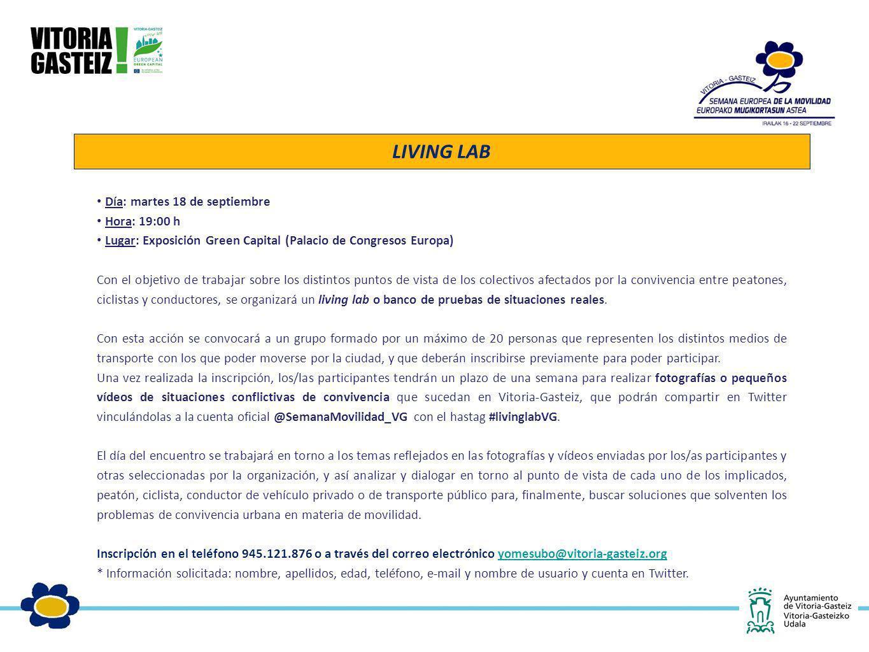 Día: martes 18 de septiembre Hora: 19:00 h Lugar: Exposición Green Capital (Palacio de Congresos Europa) Con el objetivo de trabajar sobre los distint