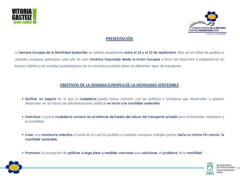 PRESENTACIÓN La Semana Europea de la Movilidad Sostenible se celebra anualmente entre el 16 y el 22 de septiembre.