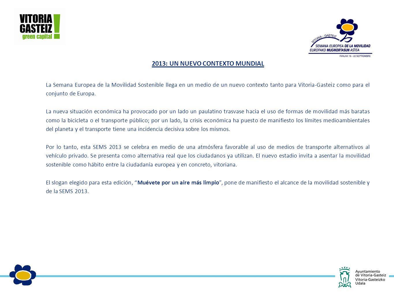 2013: UN NUEVO CONTEXTO MUNDIAL La Semana Europea de la Movilidad Sostenible llega en un medio de un nuevo contexto tanto para Vitoria-Gasteiz como para el conjunto de Europa.