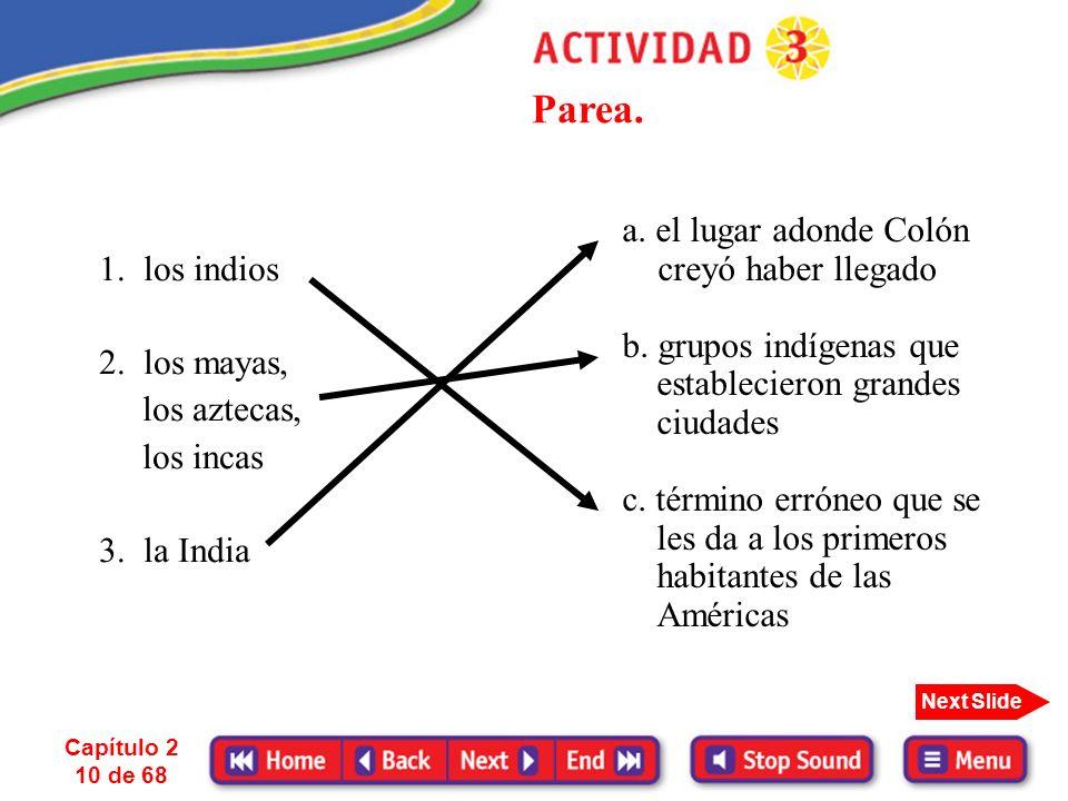 Capítulo 2 9 de 68 Next Slide Antes de la llegada de los españoles, varios grupos indígenas tales como los mayas, los aztecas y los incas habían estab