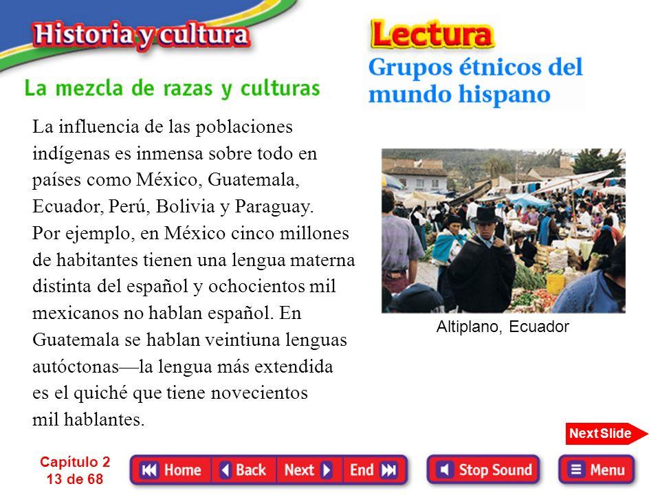 Capítulo 2 12 de 68 Next Slide En Guatemala, el país centroamericano de mayor población indígena se oye el término «ladino». Un ladino es cualquier gu