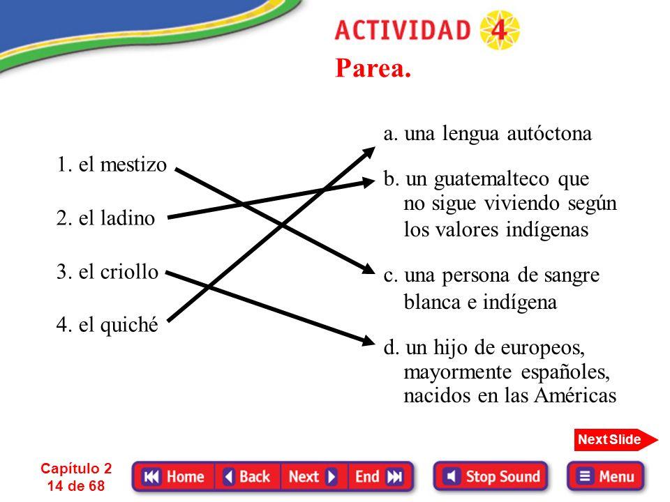 Capítulo 2 13 de 68 Next Slide La influencia de las poblaciones indígenas es inmensa sobre todo en países como México, Guatemala, Ecuador, Perú, Boliv