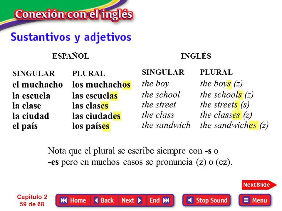 1. Ya sabes que la mayor diferencia entre los sustantivos en español y en inglés es que el sustantivo en inglés ______________. Pero igual que en espa