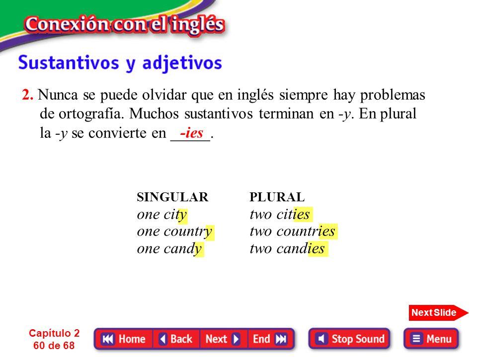Capítulo 2 59 de 68 Next Slide Nota que el plural se escribe siempre con -s o -es pero en muchos casos se pronuncia (z) o (ez). ESPAÑOLINGLÉS SINGULAR