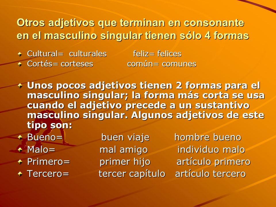 Otros adjetivos que terminan en consonante en el masculino singular tienen sólo 4 formas Cultural= culturales feliz= felices Cortés= cortesescomún= co