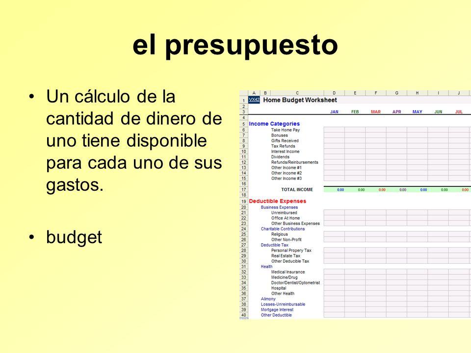 el presupuesto Un cálculo de la cantidad de dinero de uno tiene disponible para cada uno de sus gastos.