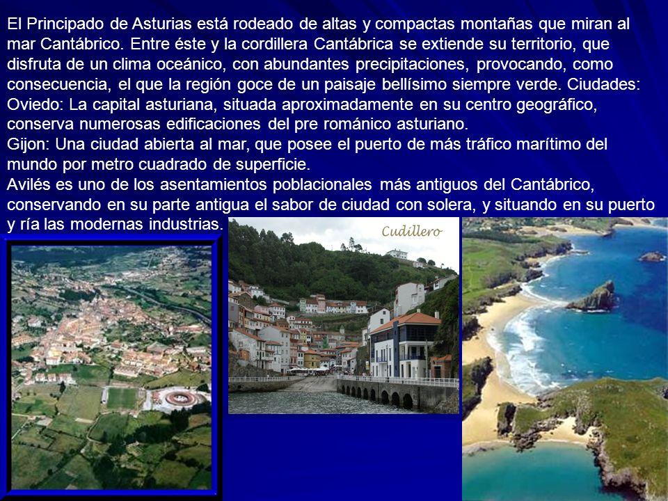 El Principado de Asturias está rodeado de altas y compactas montañas que miran al mar Cantábrico. Entre éste y la cordillera Cantábrica se extiende su