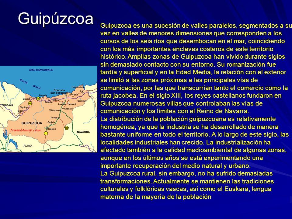 Guipúzcoa Guipuzcoa es una sucesión de valles paralelos, segmentados a su vez en valles de menores dimensiones que corresponden a los cursos de los se