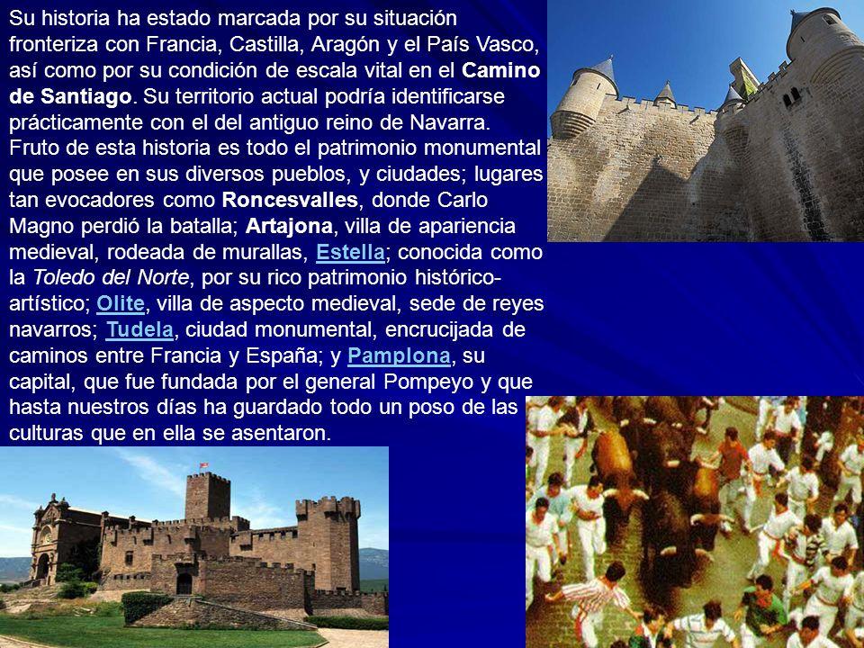 Su historia ha estado marcada por su situación fronteriza con Francia, Castilla, Aragón y el País Vasco, así como por su condición de escala vital en
