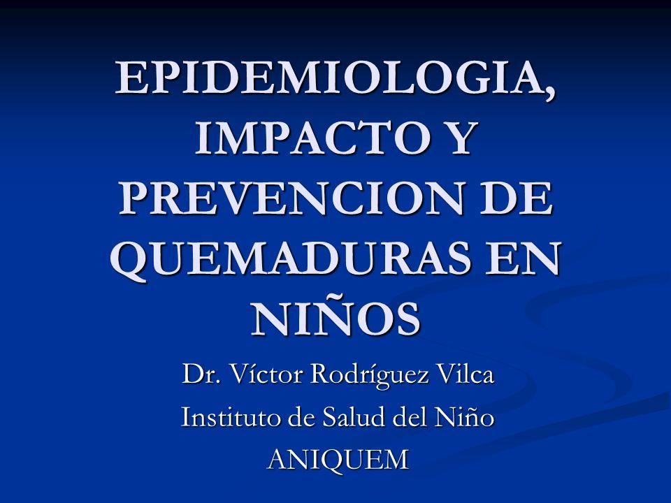 EPIDEMIOLOGIA, IMPACTO Y PREVENCION DE QUEMADURAS EN NIÑOS Dr. Víctor Rodríguez Vilca Instituto de Salud del Niño ANIQUEM