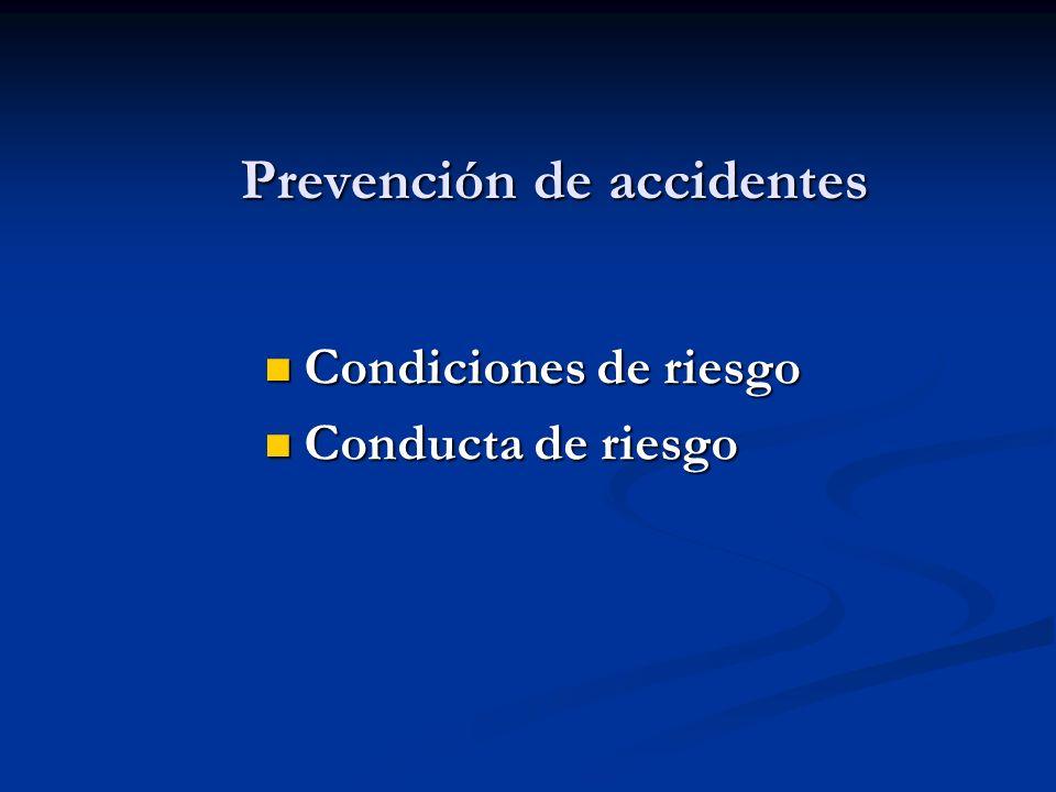 Prevención de accidentes Condiciones de riesgo Condiciones de riesgo Conducta de riesgo Conducta de riesgo