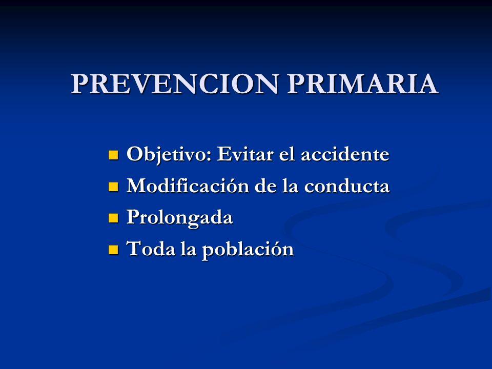 Objetivo: Evitar el accidente Objetivo: Evitar el accidente Modificación de la conducta Modificación de la conducta Prolongada Prolongada Toda la pobl