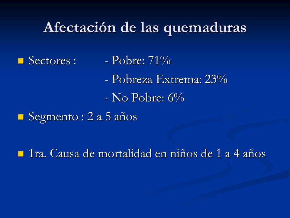 Afectación de las quemaduras Sectores : - Pobre: 71% Sectores : - Pobre: 71% - Pobreza Extrema: 23% - No Pobre: 6% Segmento : 2 a 5 años Segmento : 2
