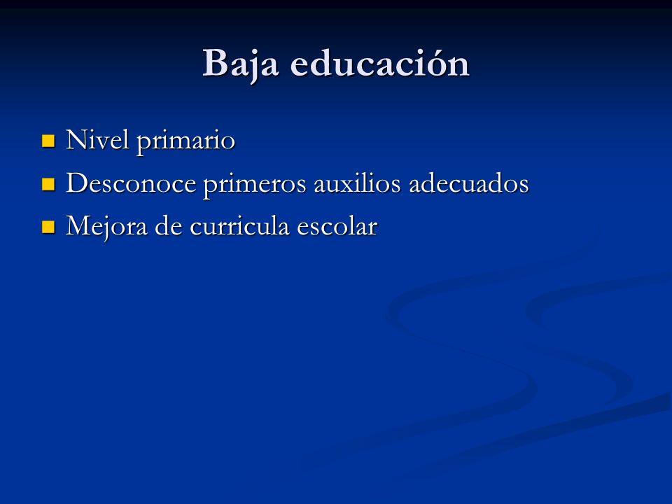 Baja educación Nivel primario Nivel primario Desconoce primeros auxilios adecuados Desconoce primeros auxilios adecuados Mejora de curricula escolar M