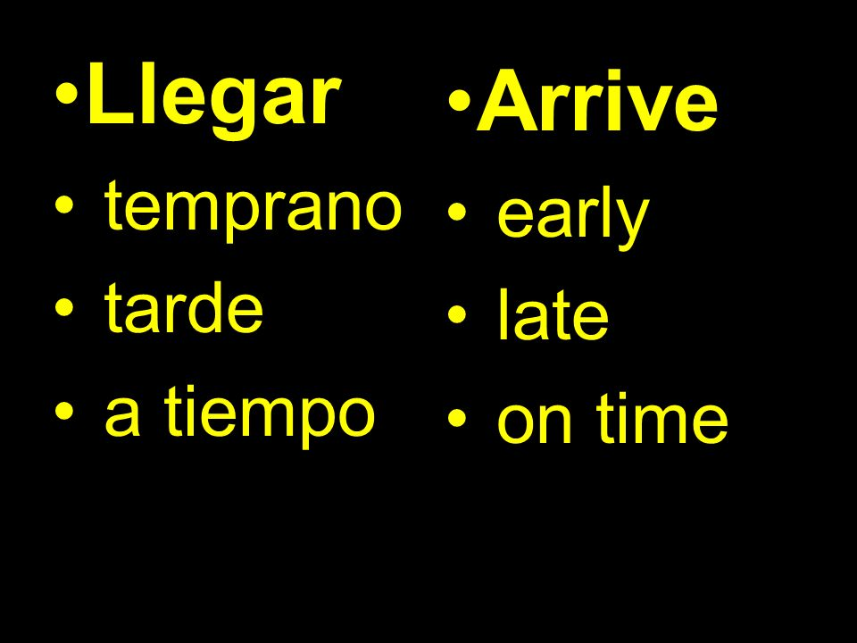 Llegar temprano tarde a tiempo Arrive early late on time