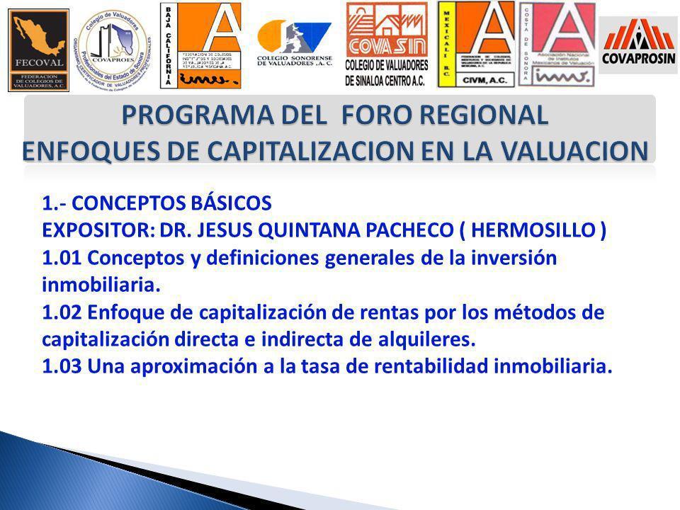 1.- CONCEPTOS BÁSICOS EXPOSITOR: DR. JESUS QUINTANA PACHECO ( HERMOSILLO ) 1.01 Conceptos y definiciones generales de la inversión inmobiliaria. 1.02