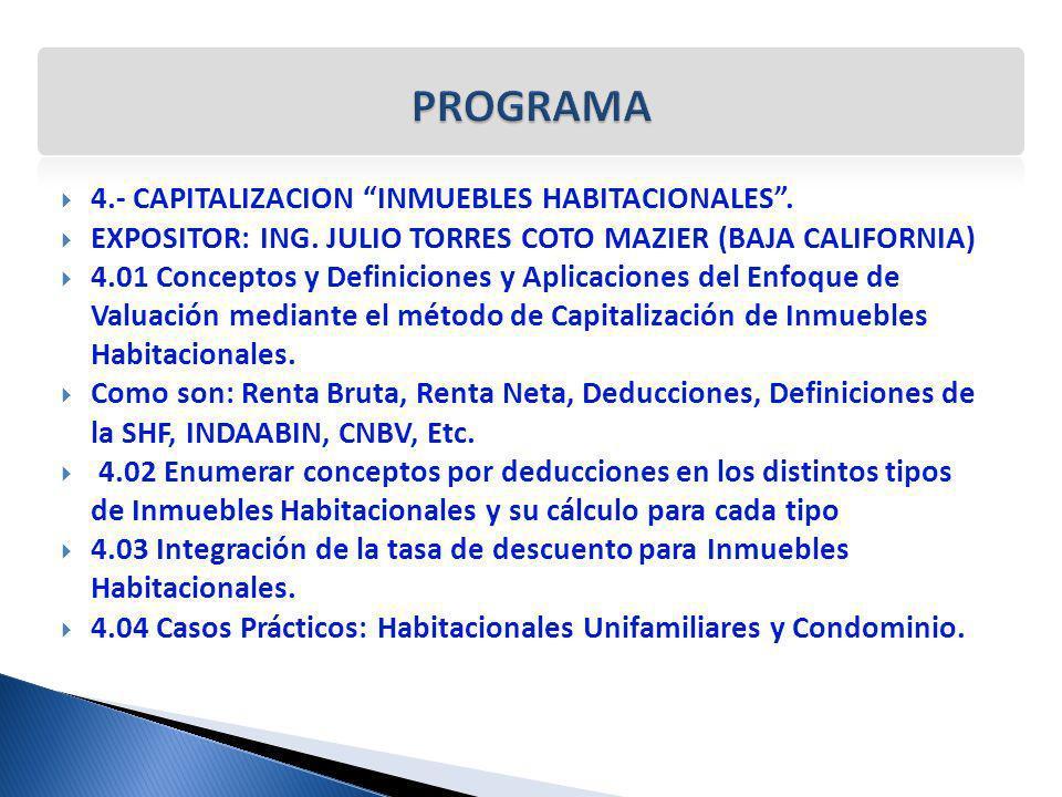 4.- CAPITALIZACION INMUEBLES HABITACIONALES. EXPOSITOR: ING. JULIO TORRES COTO MAZIER (BAJA CALIFORNIA) 4.01 Conceptos y Definiciones y Aplicaciones d