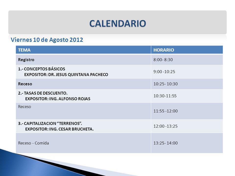 Viernes 10 de Agosto 2012 TEMAHORARIO Registro8:00- 8:30 1.- CONCEPTOS BÁSICOS EXPOSITOR: DR. JESUS QUINTANA PACHECO 9:00 -10:25 Receso10:25- 10:30 2.