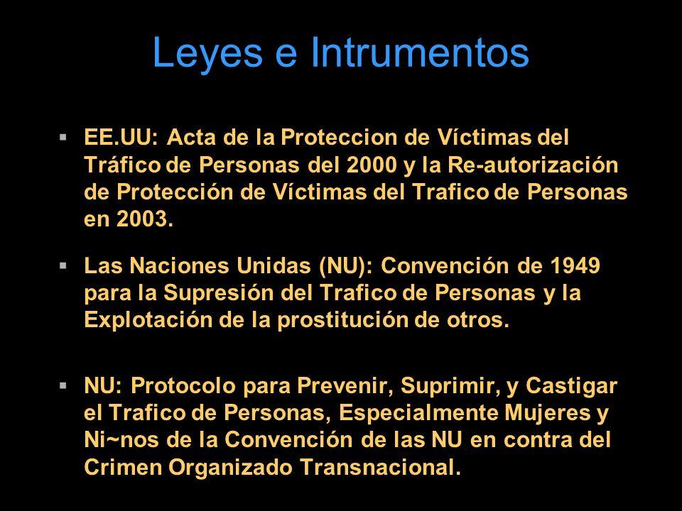 Leyes e Intrumentos EE.UU: Acta de la Proteccion de Víctimas del Tráfico de Personas del 2000 y la Re-autorización de Protección de Víctimas del Trafico de Personas en 2003.