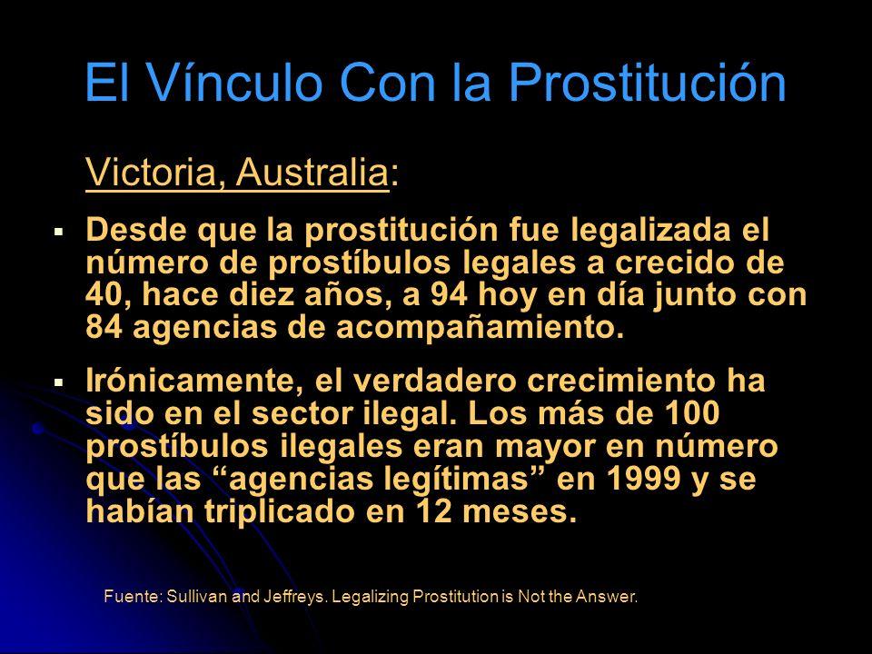 El Vínculo Con la Prostitución Victoria, Australia: Desde que la prostitución fue legalizada el número de prostíbulos legales a crecido de 40, hace diez años, a 94 hoy en día junto con 84 agencias de acompañamiento.