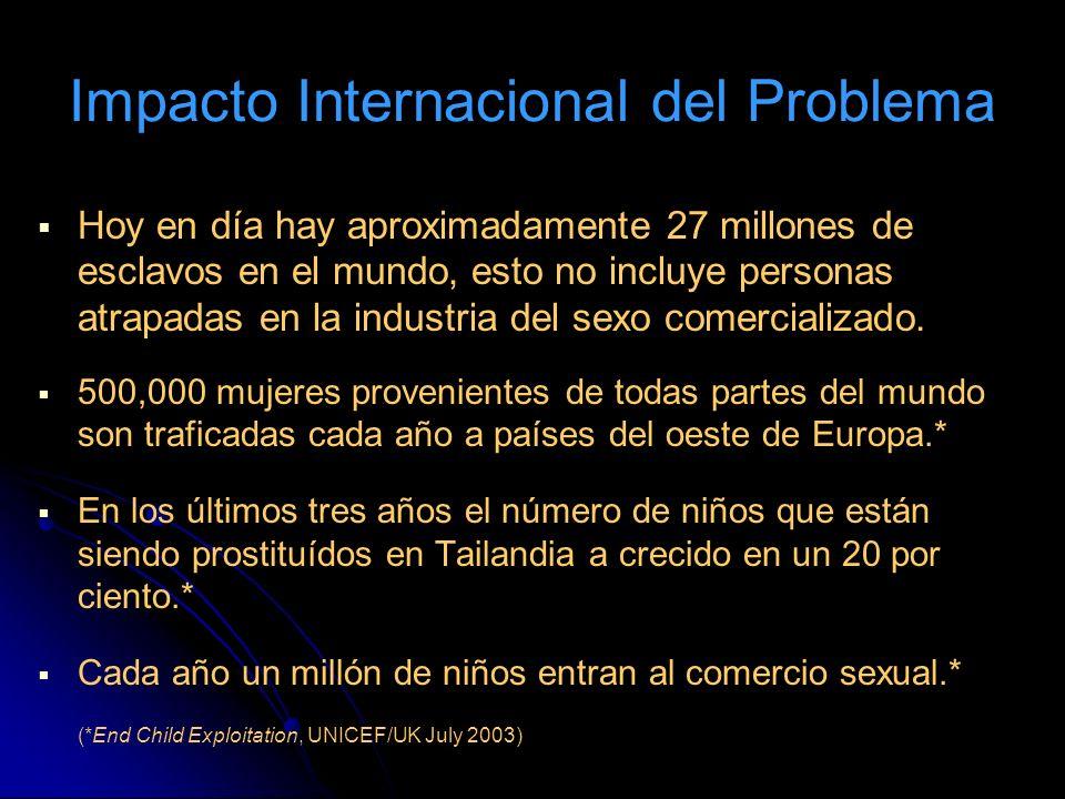 Hoy en día hay aproximadamente 27 millones de esclavos en el mundo, esto no incluye personas atrapadas en la industria del sexo comercializado. 500,00