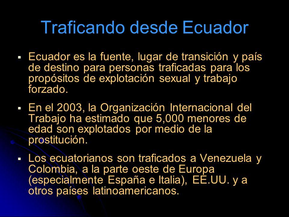 Traficando desde Ecuador Ecuador es la fuente, lugar de transición y país de destino para personas traficadas para los propósitos de explotación sexual y trabajo forzado.