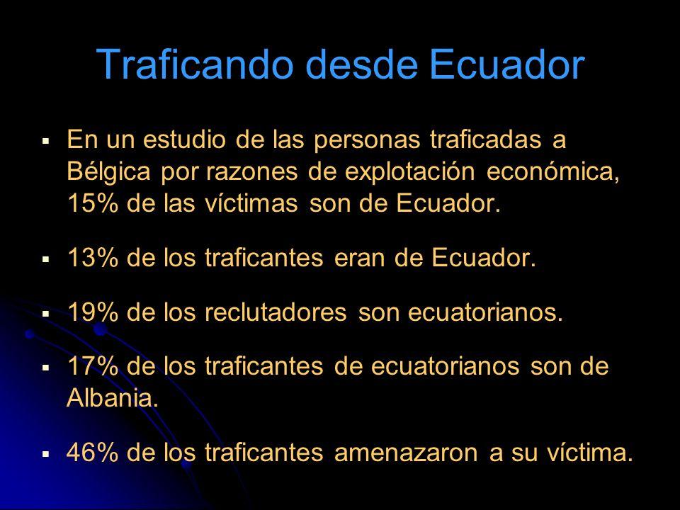 Traficando desde Ecuador En un estudio de las personas traficadas a Bélgica por razones de explotación económica, 15% de las víctimas son de Ecuador.