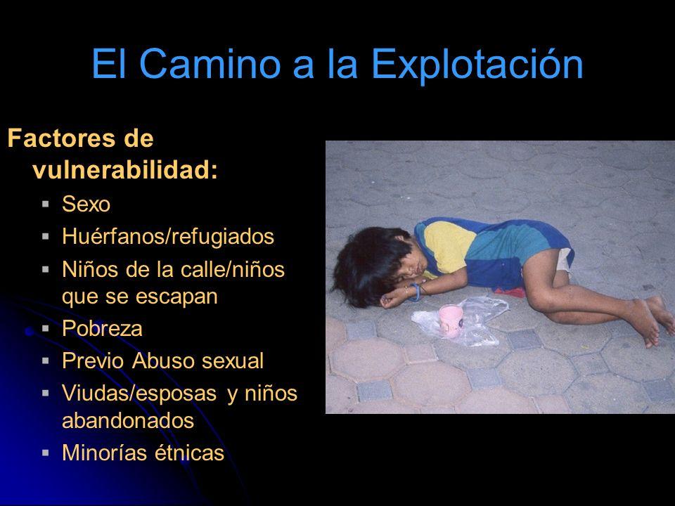 El Camino a la Explotación Factores de vulnerabilidad: Sexo Huérfanos/refugiados Niños de la calle/niños que se escapan Pobreza Previo Abuso sexual Viudas/esposas y niños abandonados Minorías étnicas