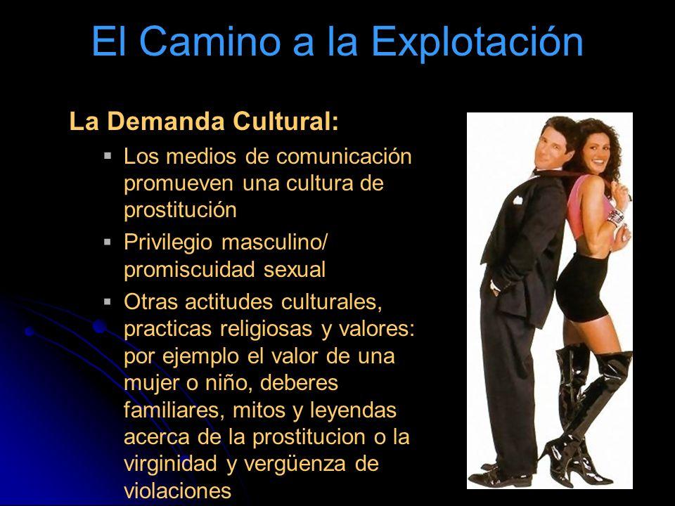 El Camino a la Explotación La Demanda Cultural: Los medios de comunicación promueven una cultura de prostitución Privilegio masculino/ promiscuidad se