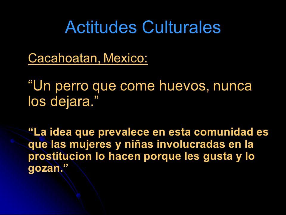Actitudes Culturales Cacahoatan, Mexico: Un perro que come huevos, nunca los dejara. La idea que prevalece en esta comunidad es que las mujeres y niña