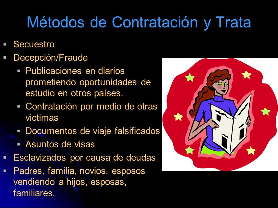Métodos de Contratación y Trata Secuestro Decepción/Fraude Publicaciones en diarios prometiendo oportunidades de estudio en otros países. Contratación