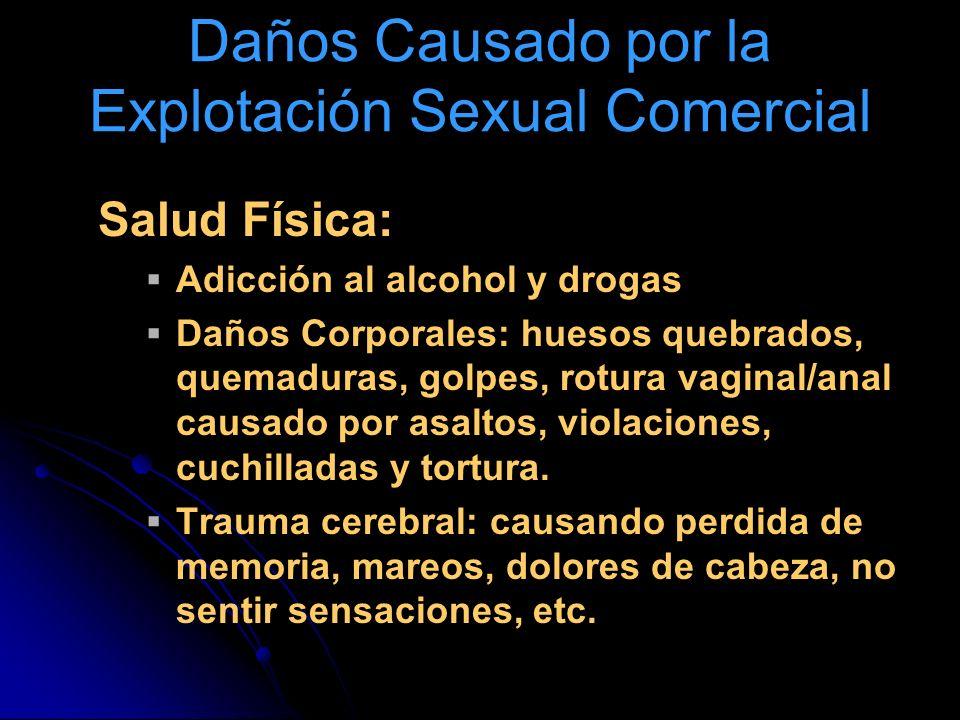 Daños Causado por la Explotación Sexual Comercial Salud Física: Adicción al alcohol y drogas Daños Corporales: huesos quebrados, quemaduras, golpes, r