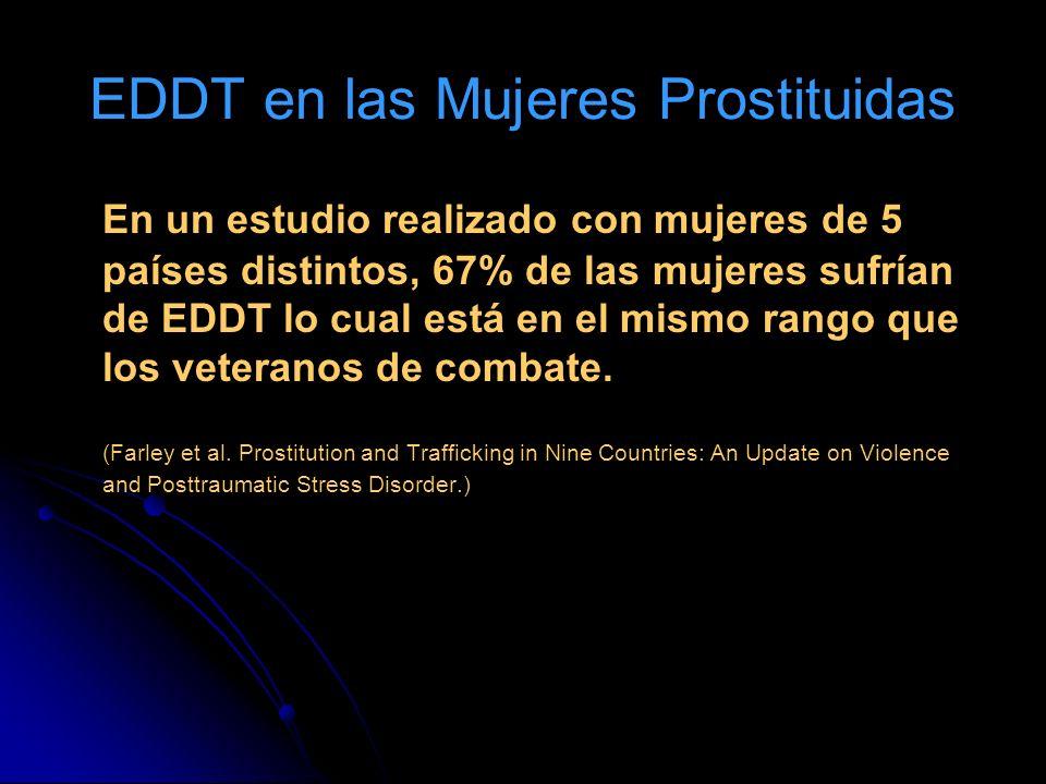 EDDT en las Mujeres Prostituidas En un estudio realizado con mujeres de 5 países distintos, 67% de las mujeres sufrían de EDDT lo cual está en el mismo rango que los veteranos de combate.