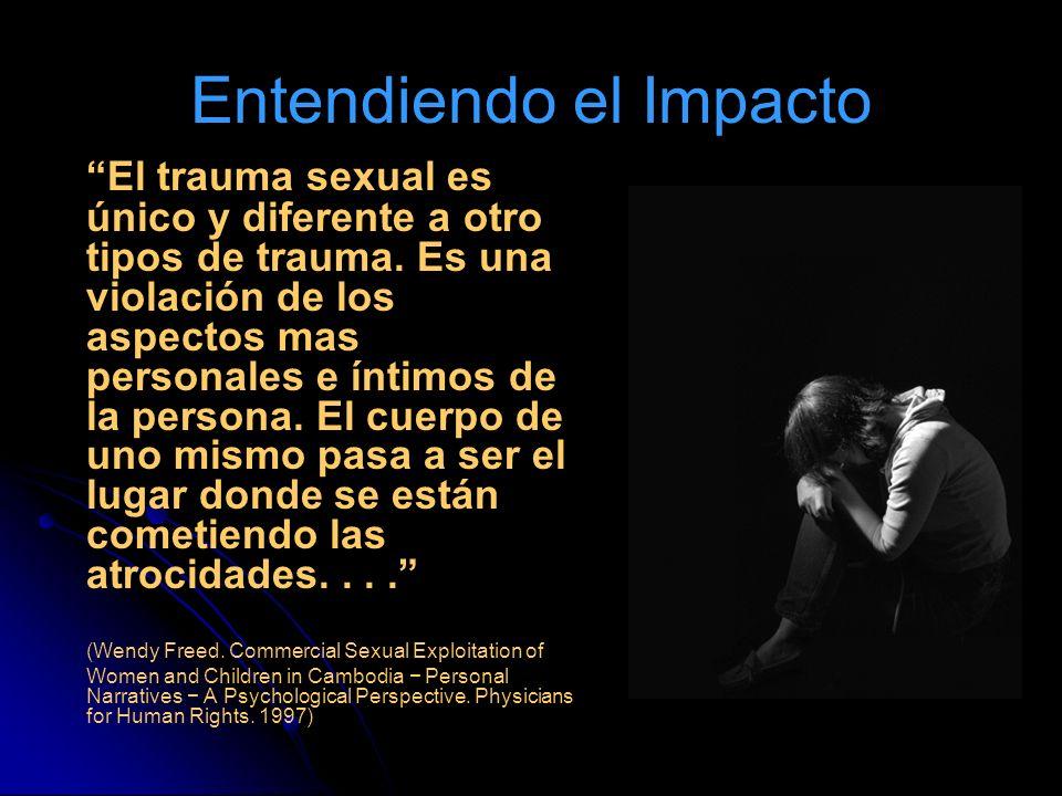 Entendiendo el Impacto El trauma sexual es único y diferente a otro tipos de trauma. Es una violación de los aspectos mas personales e íntimos de la p