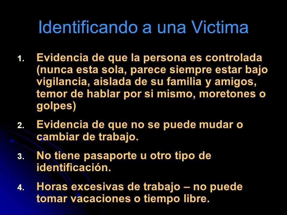Identificando a una Victima 1. 1. Evidencia de que la persona es controlada (nunca esta sola, parece siempre estar bajo vigilancia, aislada de su fami