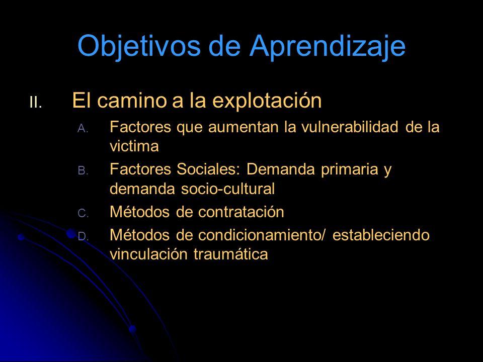 Objetivos de Aprendizaje II. II. El camino a la explotación A. A. Factores que aumentan la vulnerabilidad de la victima B. B. Factores Sociales: Deman