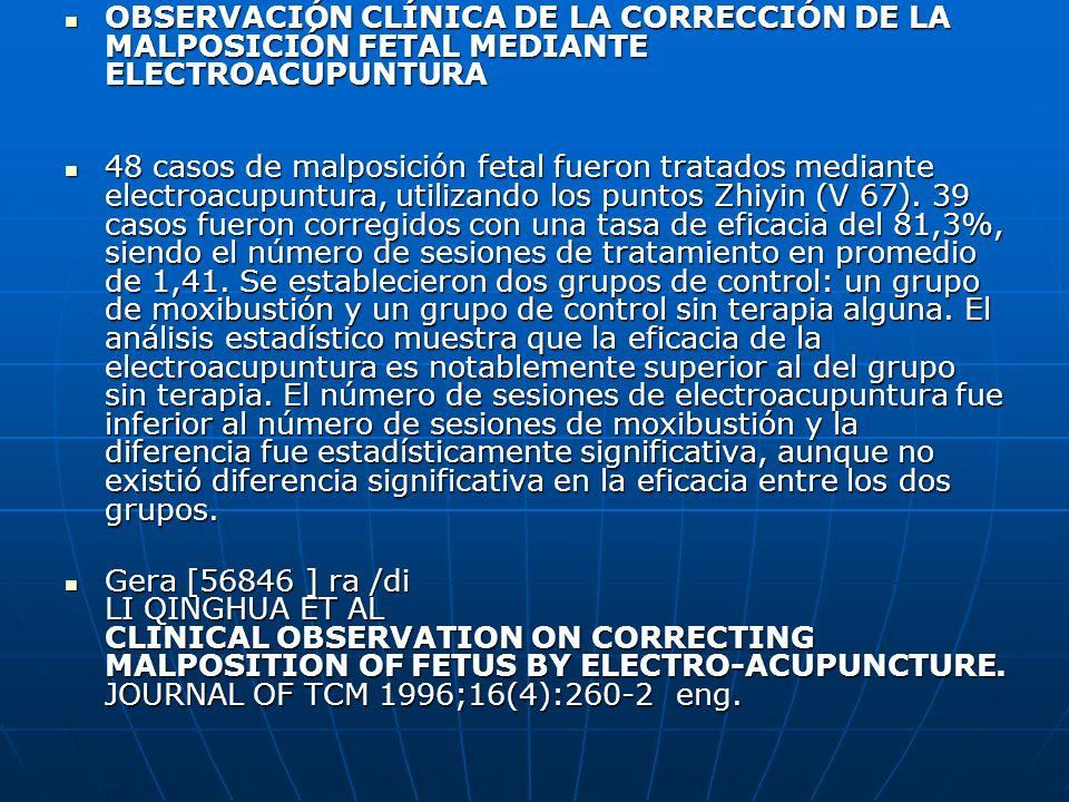 OBSERVACIÓN CLÍNICA DE LA CORRECCIÓN DE LA MALPOSICIÓN FETAL MEDIANTE ELECTROACUPUNTURA OBSERVACIÓN CLÍNICA DE LA CORRECCIÓN DE LA MALPOSICIÓN FETAL M