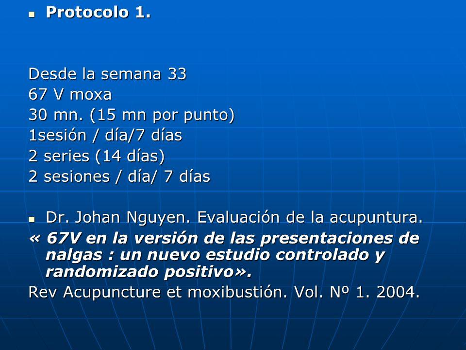 Protocolo 1. Protocolo 1. Desde la semana 33 67 V moxa 30 mn. (15 mn por punto) 1sesión / día/7 días 2 series (14 días) 2 sesiones / día/ 7 días Dr. J