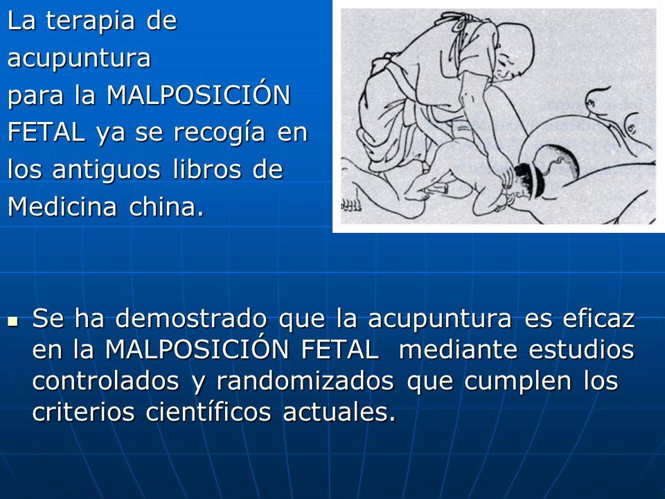 La terapia de acupuntura para la MALPOSICIÓN FETAL ya se recogía en los antiguos libros de Medicina china. Se ha demostrado que la acupuntura es efica