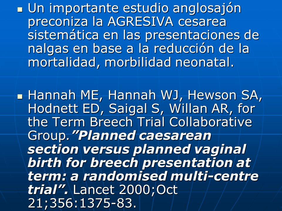 Un importante estudio anglosajón preconiza la AGRESIVA cesarea sistemática en las presentaciones de nalgas en base a la reducción de la mortalidad, mo