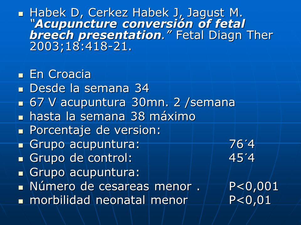 Habek D, Cerkez Habek J, Jagust M.Acupuncture conversión of fetal breech presentation. Fetal Diagn Ther 2003;18:418-21. Habek D, Cerkez Habek J, Jagus